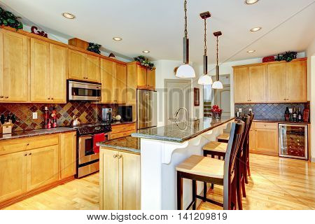 Kitchen Room With Brown Cabinets, Stainless Steel, Granite Counter Top.