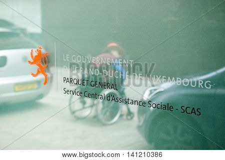 LUXEMBOURG LUXEMBOURG - JUNE 6 2016: General headquarter of Central Service of Social Assistance of the Grand Duchy of Luxembourg - or Parquet GEneral Service Central d'Assistance Sociale SCAS