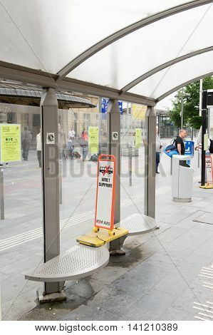 LUXEMBOURG LUXEMBOURG - JUNE 6 2016: Arret Supprime - translating as Station not in use sign in front of the Gare Central du Luxembourg