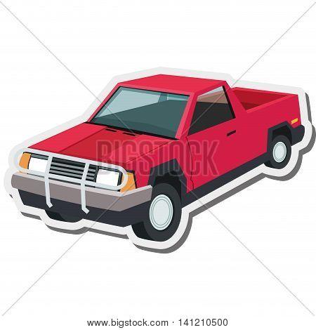 flat design pickup truck icon vector illustration