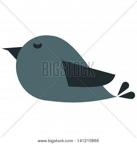 flat design cute cartoon bird icon vector illustration