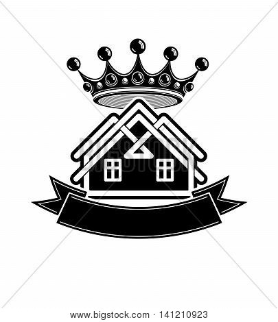 Kingdom idea imperial blazon with vector stylish dimensional crown and decorative beautiful ribbon.