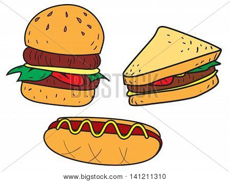 Vector illustration of fast foods burger sandwich and hot dog in colored doodle style