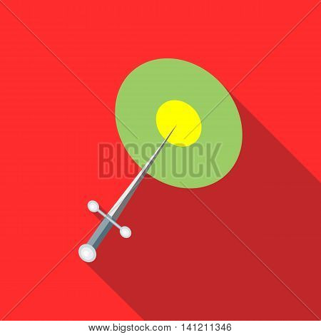 Steel throwing knife icon in flat style on a red background