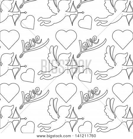 flat design cupid silhouette pattern icon vector illustration