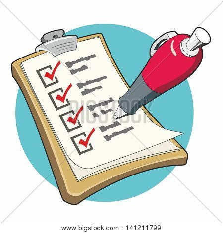 Checklist with red ballpoint pen ticking the boxes on a clipboard in stylized clip-art illustration against a circular blue background.