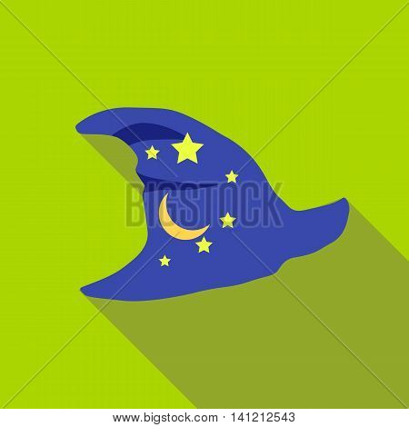 Blue wizards hat with stars icon in flat style on a green background