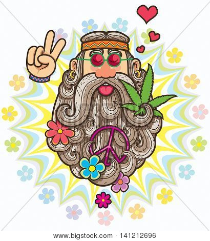 Cartoon illustration of hippie on white background.