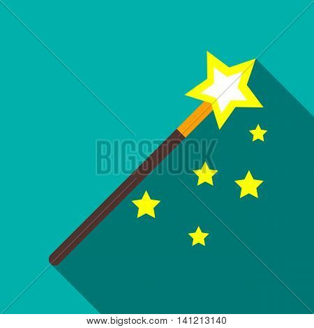 Magic wand icon in flat style on a turquoise background