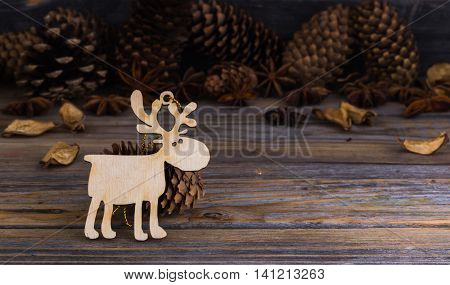 Christmas, Holiday Decorations, On Wooden Background