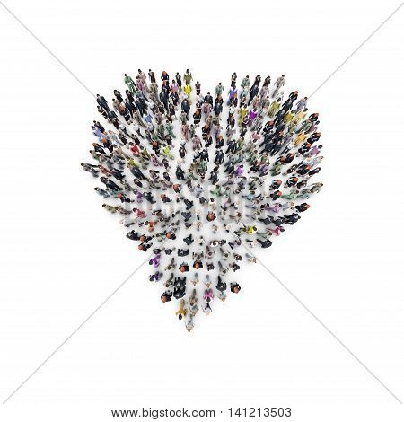 Aerial view of men and women that are grouping in heart shape. 3D Rendering