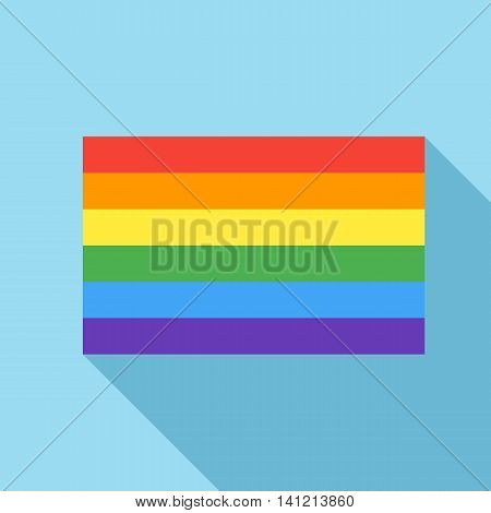 Rainbow flag icon in flat style on a light blue background