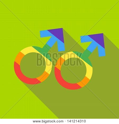 Two male rainbow gender symbols icon in flat style on a green background