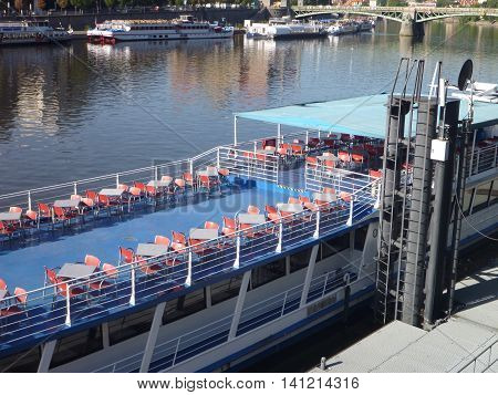 Touristic Trip Boat On Vltava River In Prague