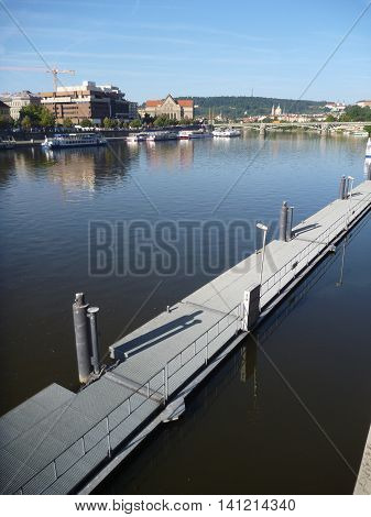 Port Plateau On Vltava River In Prague