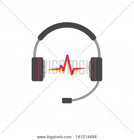 Music logo vector concept isolated on white background, flat support headphones with read sound wave beat, broadcasting creative modern logotype, hotline headset, customer help desk symbol