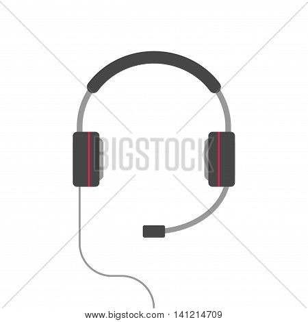 Headphones vector isolated on white background, flat cartoon headset icon