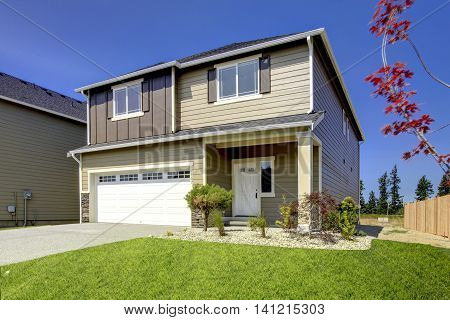 Typical American Northwest Style New Development House Exterior.