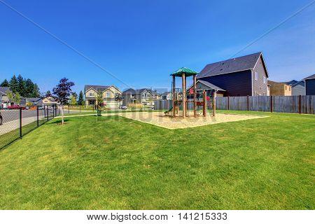 Backyard Playground With Climbing Wood Panel, Chute.