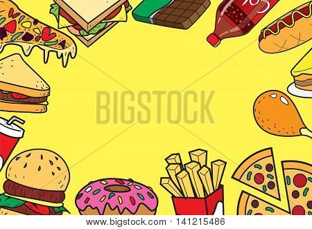 Vector illustration of fast foods in colored doodle style with blank space in the middle