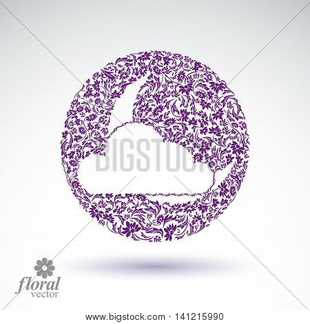 A New Moon behind cloud beautiful vector art illustration floral lullaby conceptual icon sleep time symbol.