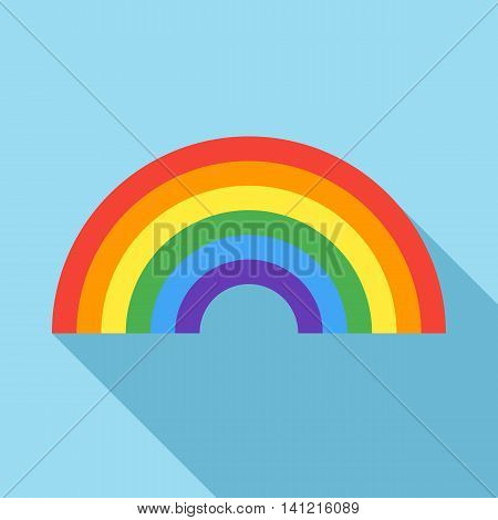 Rainbow icon in flat style on a light blue background