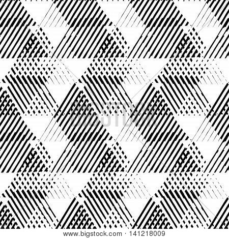 Vector seamless geometric pattern with striped triangles, abstract dynamic shapes in black and white. Hand drawn background with crossing lines in 1980s fashion style. Modern techno textile print