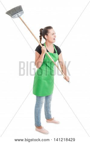 Angry Employee Acting Violent With The Broom