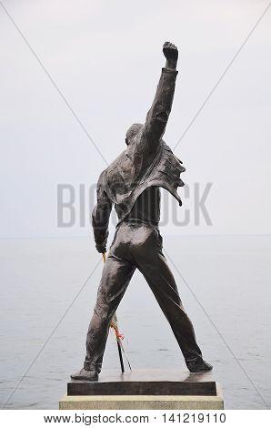 Montreux Switzerland - June 15 2010: Freddie Mercury statue on the shore of Geneva lake.