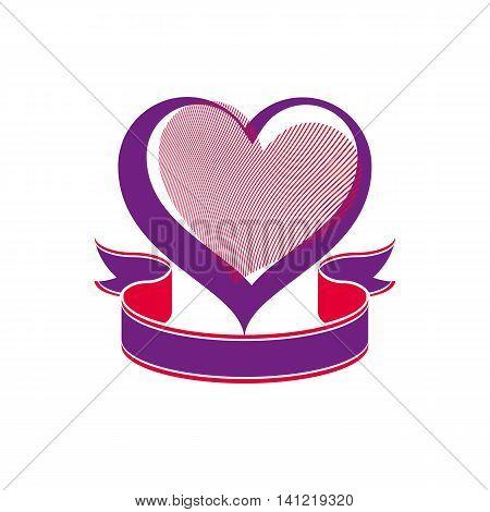 Conceptual vector art illustration of loving heart with decorative ribbon.