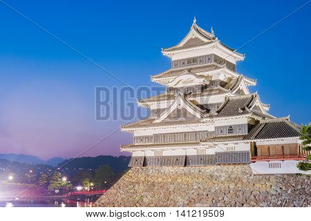 Matsumoto castle (Matsumoto-jo) historic landmark at night in matsumoto city nagano Japan.