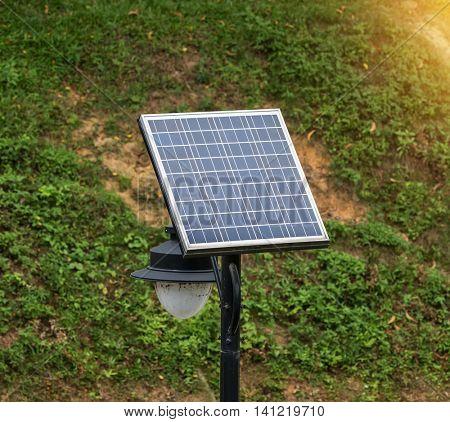 street lamp post with solar panel energy
