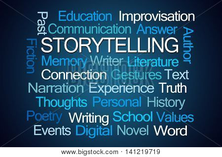 Storytelling Word Cloud on Blue Background