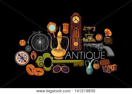 vector illustration of flat line art design of antique Vintage concept