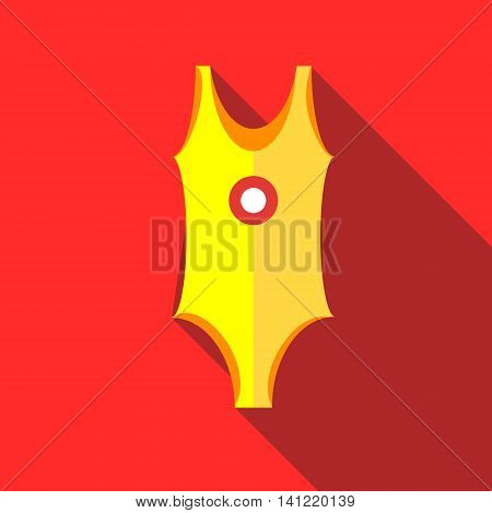 Yellow swimsuit icon in flat style on a red background