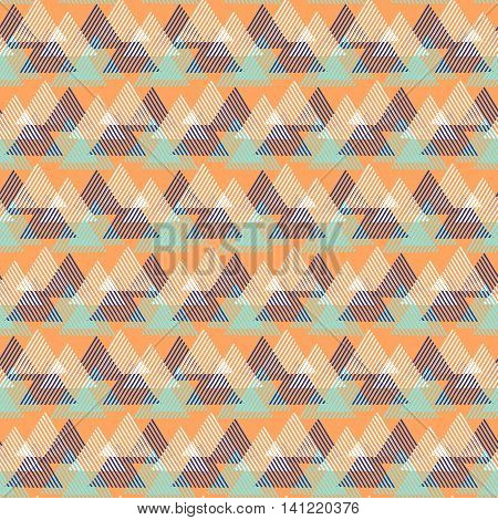 Vector seamless geometric pattern with striped triangles, abstract dynamic shapes in bright color. Hand drawn background with overlapping lines in 1990s fashion style. Modern textile print in orange