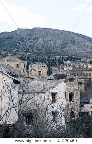 A view of the historical part of the city of Mostar, Bosnia and Herzegovina