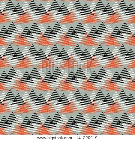 Vector seamless geometric pattern with striped triangles, abstract dynamic shapes in bright color. Hand drawn background with overlapping lines in 1990s fashion style. Modern textile print in grey red
