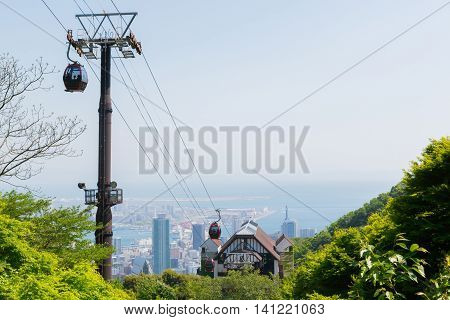 Ropeway On Mountain Or Cable Car Use For Take Viewpoint  Cityscape.