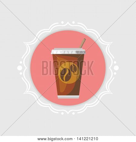 Disposable coffee cup icon in vintage frame.