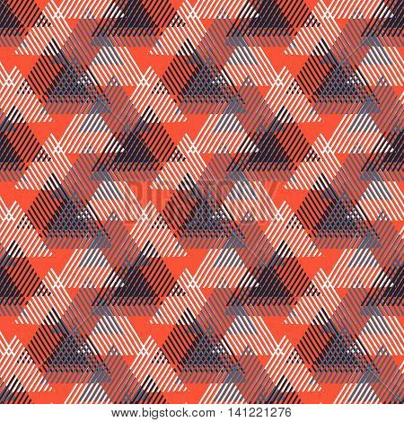 Vector seamless geometric pattern with striped triangles, abstract dynamic shapes in bright colors. Hand drawn background with overlapping lines in 1980s fashion style. Modern textile print in red