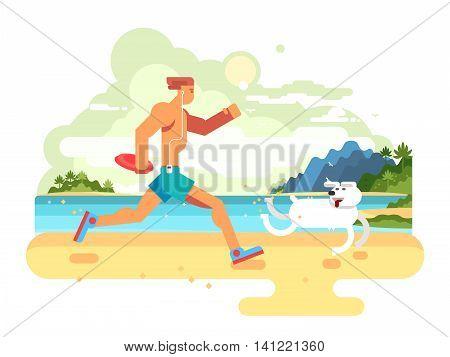 Morning jog on beach. Fitness lifestyle, healthy exercise, jogging run, athlete runner, flat vector illustration