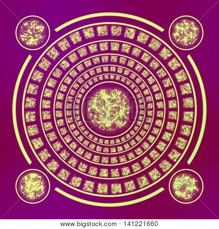 abstract magic gold runes round symbol with four rings on purple background