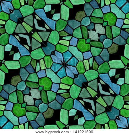 mosaic kaleidoscope seamless pattern texture background - green blue colored with color black grout