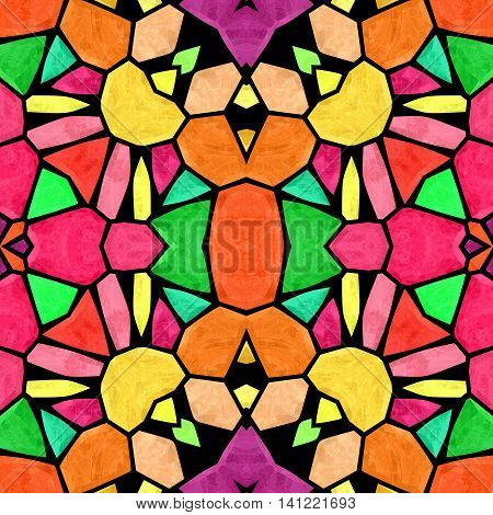 mosaic kaleidoscope seamless pattern texture background - multicolored with black grout