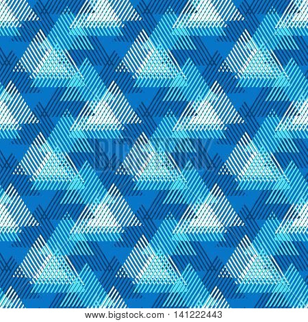 Vector seamless geometric pattern with striped triangles, abstract dynamic shapes in bright colors. Hand drawn background with overlapping lines in 1980s fashion style. Modern textile print in blue