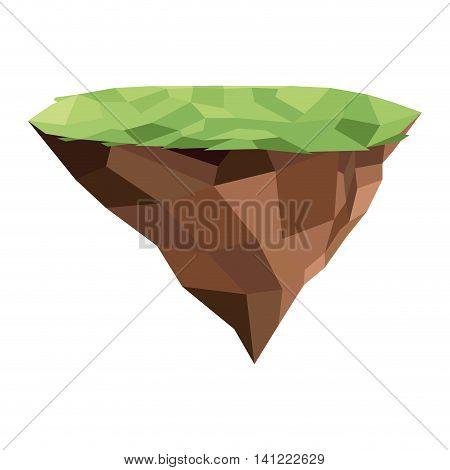flat design floating piece of land icon vector illustration