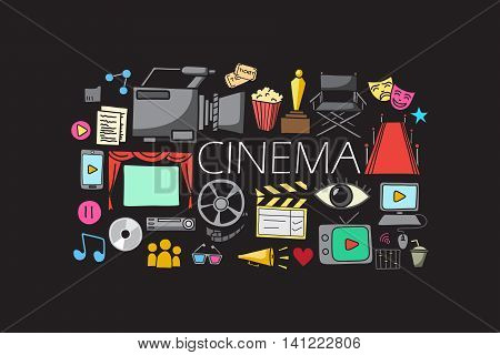 vector illustration of flat line art design of Entertainment and Cinema concept