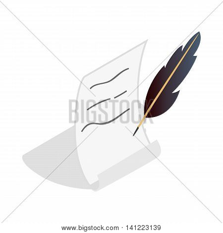 Feather and scroll icon in isometric 3d style on a white background