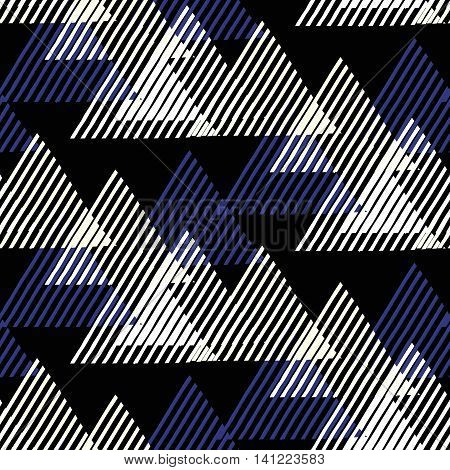 Vector seamless geometric pattern with striped triangles, abstract dynamic shapes in black, blue, white colors. Hand drawn funky background with lines in 1990s fashion style. Modern tech textile print